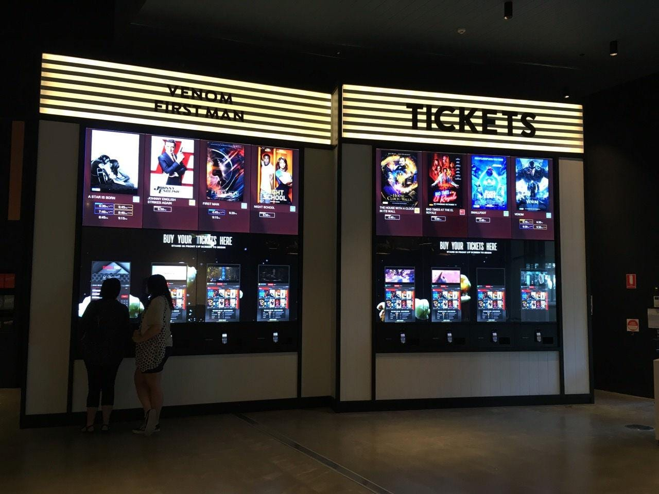 A Zytronic multi touch cinema wall and ticket dispenser